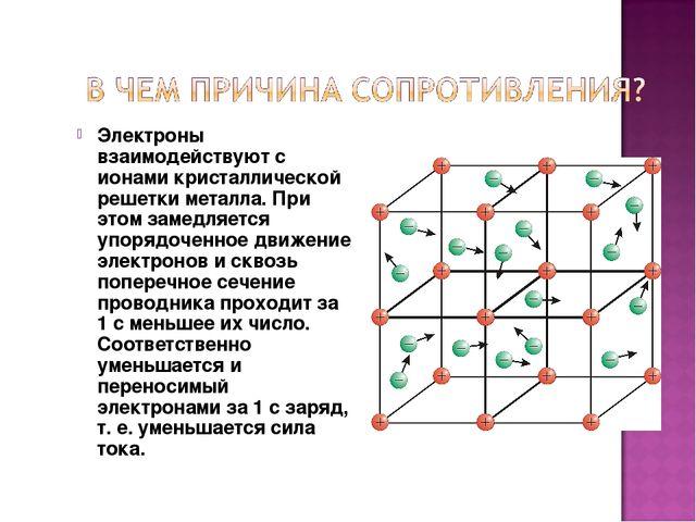 Электроны взаимодействуют с ионами кристаллической решетки металла. При этом...