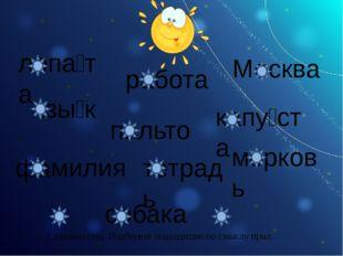 лопа́та язы́к работа Москва капу́ста пальто фамилия тетрадь морковь собака К