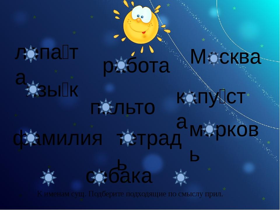лопа́та язы́к работа Москва капу́ста пальто фамилия тетрадь морковь собака К...