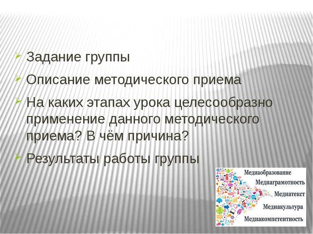 Задание группы Описание методического приема На каких этапах урока целесообра...