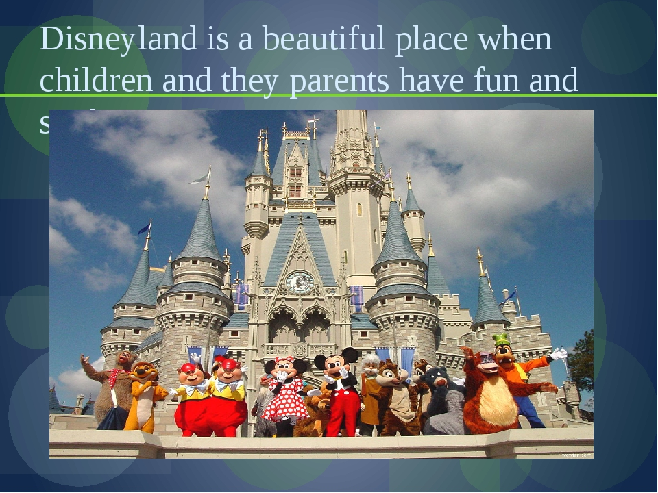Disneyland is a beautiful place when children and they parents have fun and s...