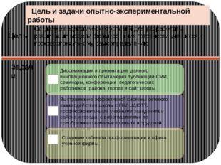 Цель и задачи опытно-экспериментальной работы Создание педагогических услови