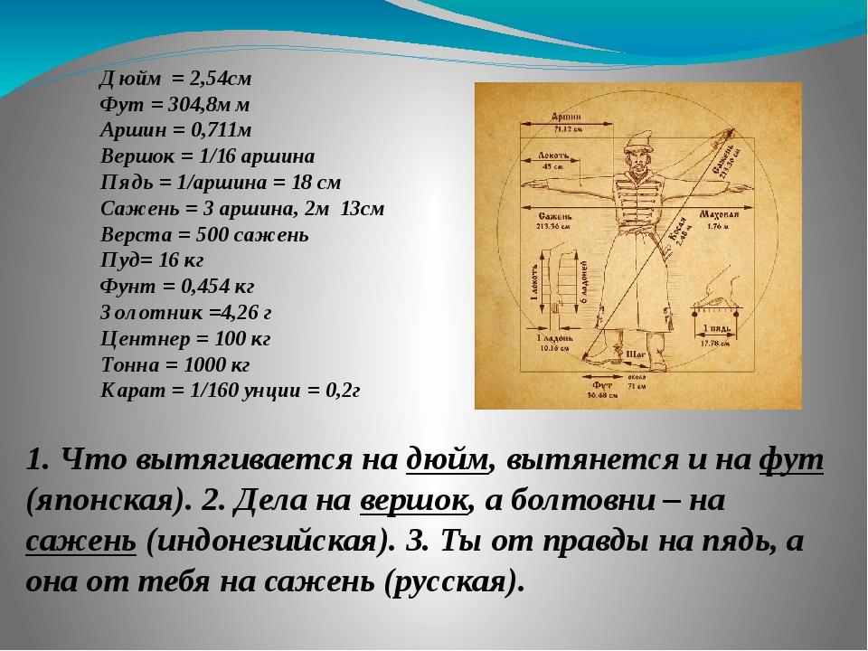 Дюйм = 2,54см Фут = 304,8мм Аршин = 0,711м Вершок = 1/16 аршина Пядь = 1/арши...