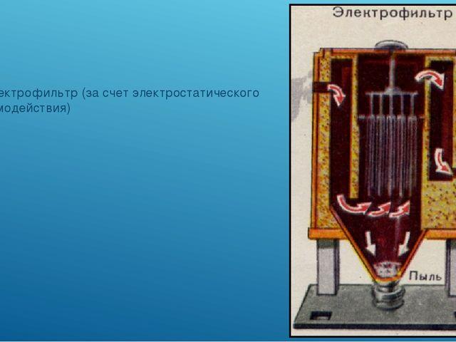 2) электрофильтр (за счет электростатического взаимодействия)
