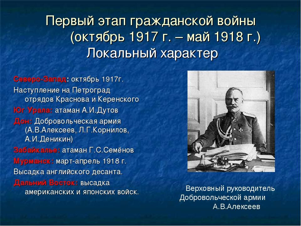 Первый этап гражданской войны (октябрь 1917 г. – май 1918 г.) Локальный харак...