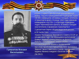 Грешилов Михаил Васильевич М. В. Грешилов (1912-2004) участвовал в боях с пер