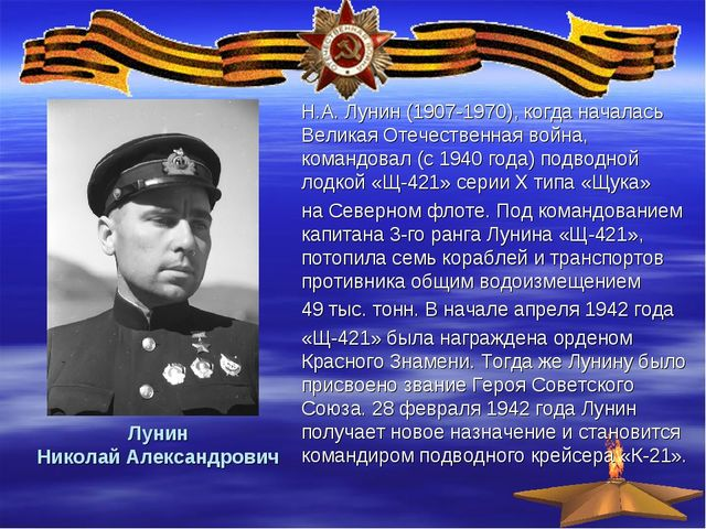 Лунин Николай Александрович Н.А. Лунин (1907-1970), когда началась Великая От...