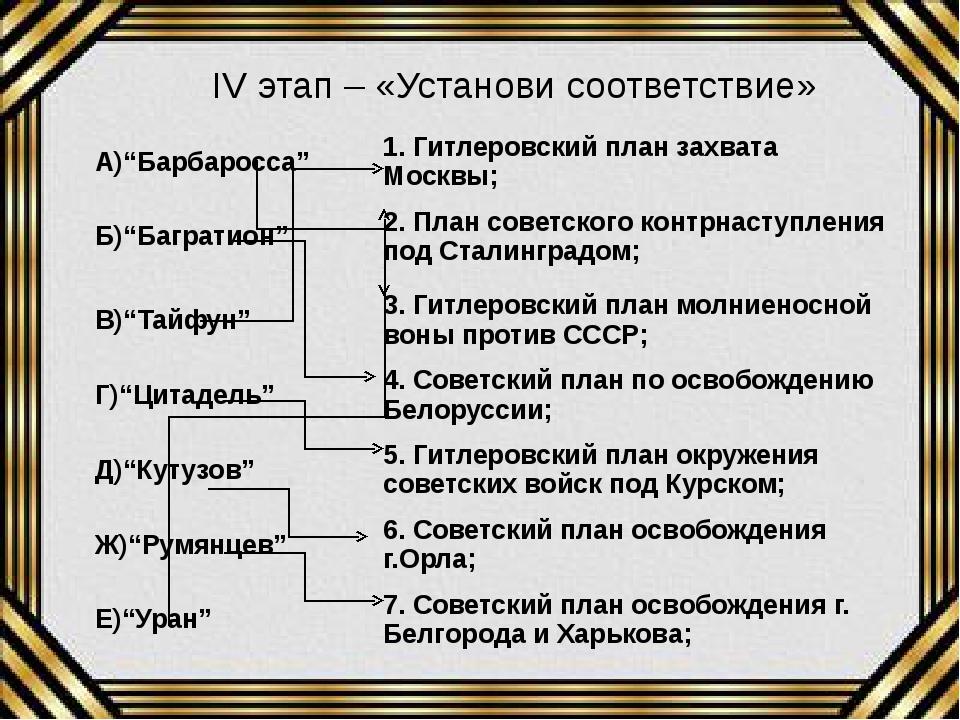 """IV этап – «Установи соответствие» А)""""Барбаросса"""" 1. Гитлеровский план захвата..."""