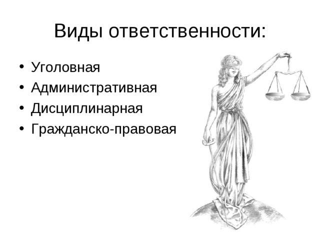 Виды ответственности: Уголовная Административная Дисциплинарная Гражданско-пр...