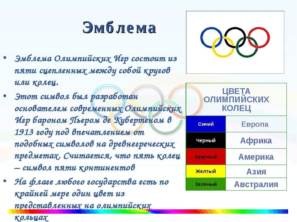 Эмблема Эмблема Олимпийских Игр состоит из пяти сцепленных между собой кругов...
