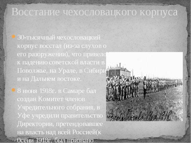 30-тысячный чехословацкий корпус восстал (из-за слухов о его разоружении), чт...