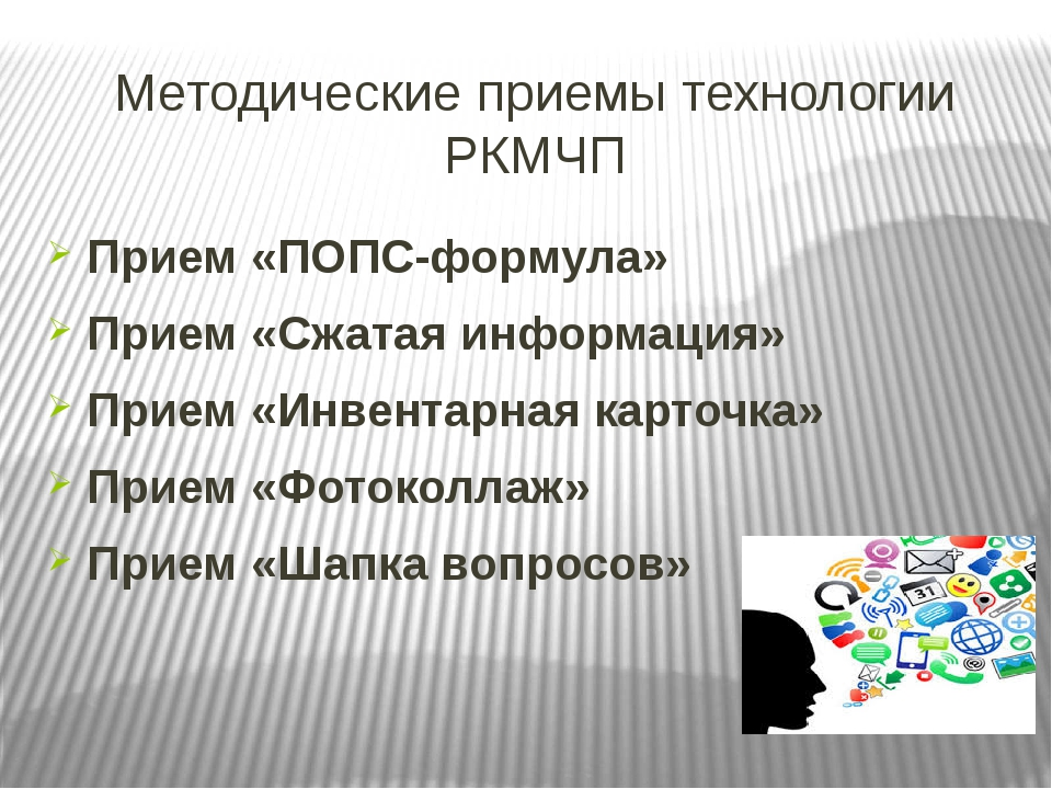 Методические приемы технологии РКМЧП Прием «ПОПС-формула» Прием «Сжатая инфор...