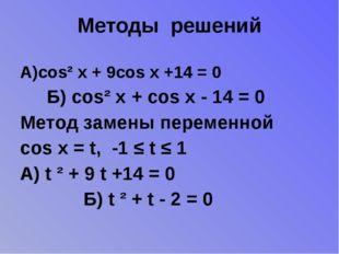 Методы решений А)cos² x + 9cos x +14 = 0 Б) cos² x + cos x - 14 = 0 Метод зам