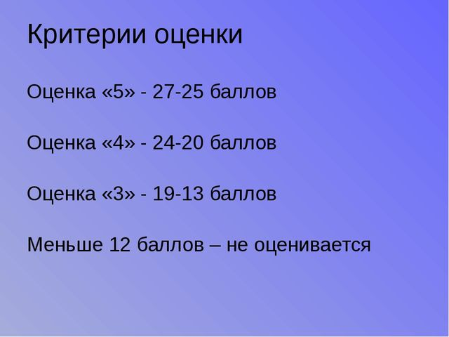 Критерии оценки Оценка «5» - 27-25 баллов Оценка «4» - 24-20 баллов Оценка «3...