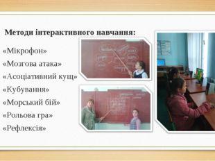 Методи інтерактивного навчання: «Мікрофон» «Мозгова атака» «Асоціативний кущ»