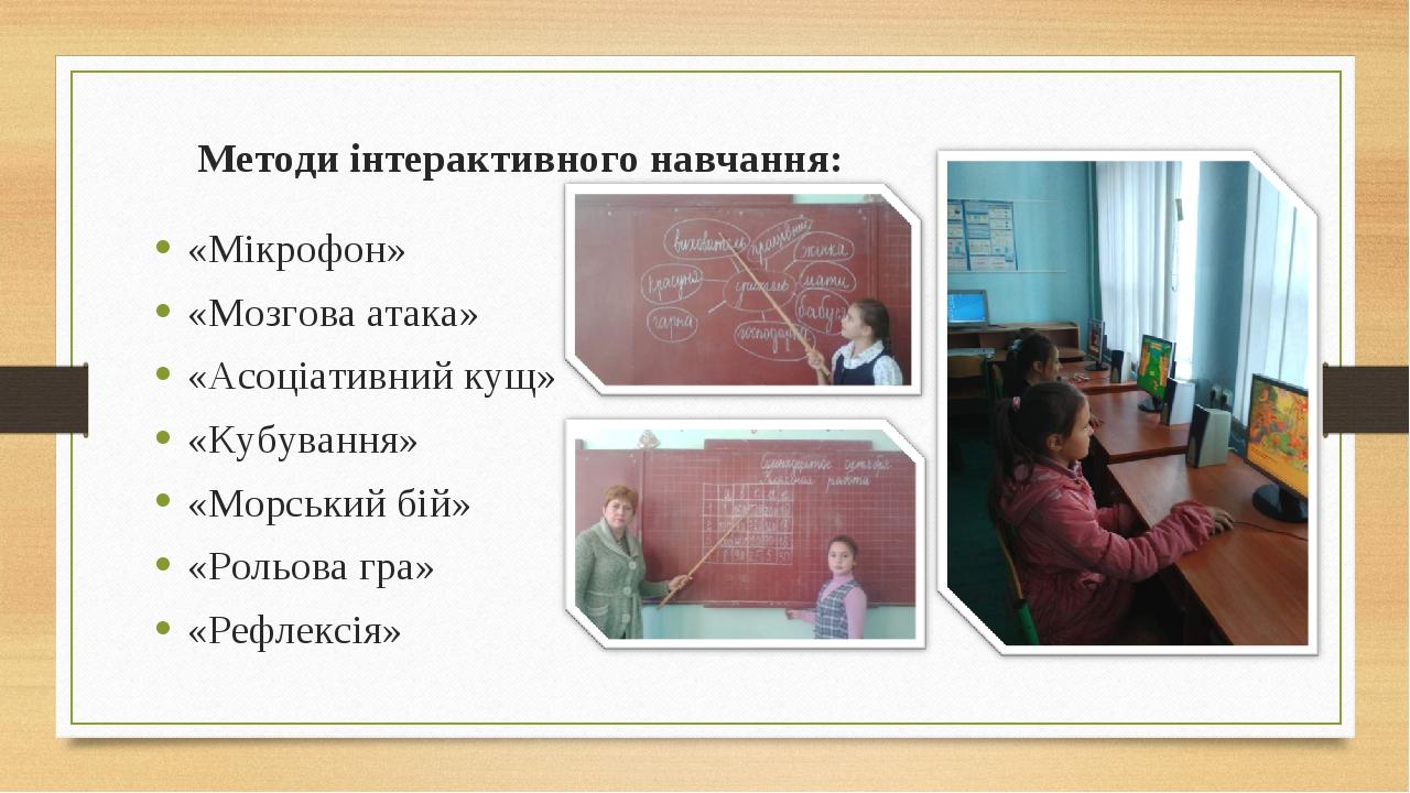 Методи інтерактивного навчання: «Мікрофон» «Мозгова атака» «Асоціативний кущ»...