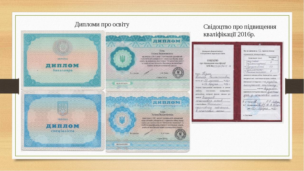 Дипломи про освіту Свідоцтво про підвищення кваліфікації 2016р.
