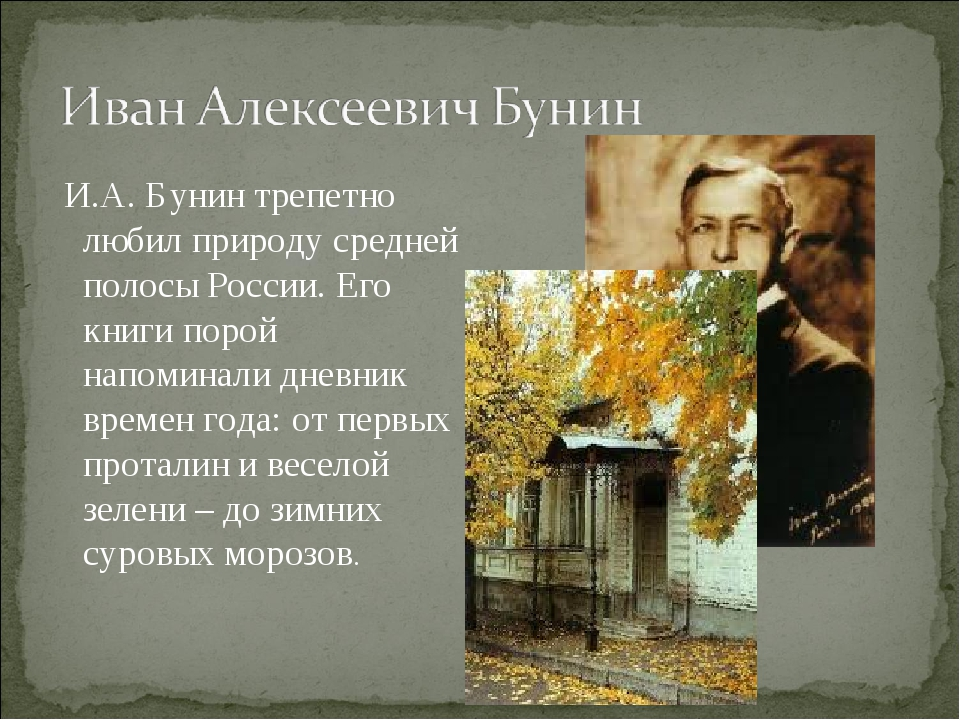 И.А. Бунин трепетно любил природу средней полосы России. Его книги порой нап...