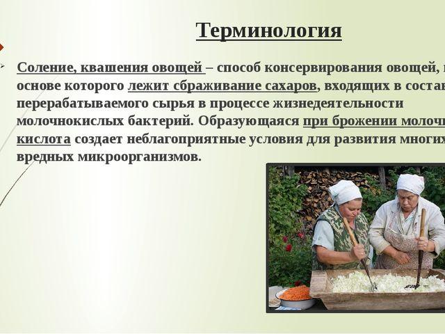 Терминология Соление, квашения овощей – способ консервирования овощей, в осно...