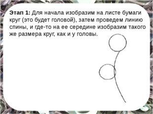Этап 1: Для начала изобразим на листе бумаги круг (это будет головой), затем