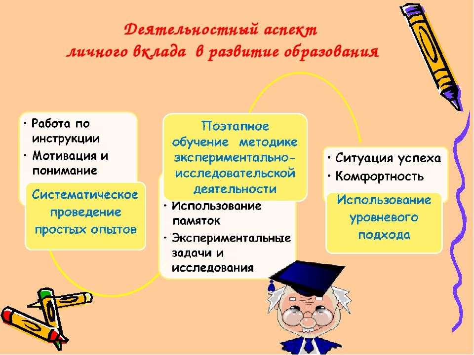 Деятельностный аспект личного вклада в развитие образования
