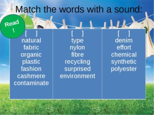 Match the words with a sound: Read! [ ] natural fabric organic plastic fashio