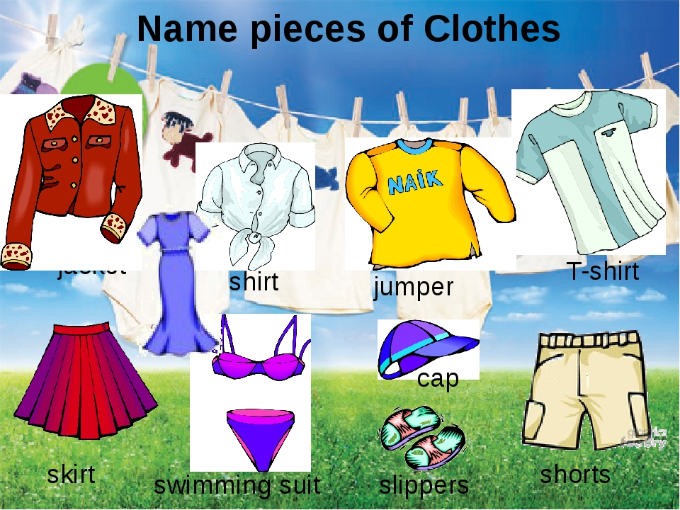 Name pieces of Clothes jacket T-shirt jumper skirt shorts shirt cap slippers...