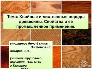 Тема: Хвойные и лиственные породы древесины. Свойства и ее промышленное приме