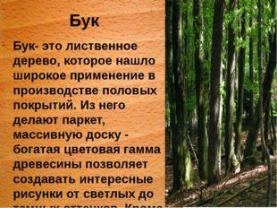 Бук Бук- это лиственное дерево, которое нашло широкое применение в производст