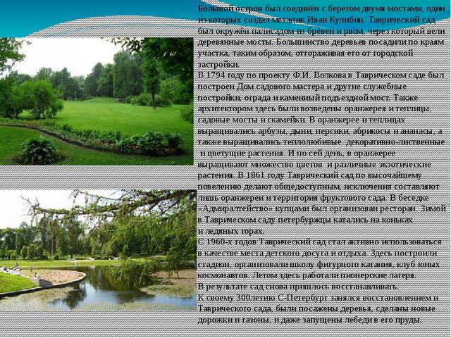 Большой остров был соединён сберегом двумя мостами, один изкоторых создал м...