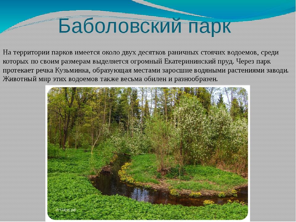 Баболовский парк На территории парков имеется около двух десятков раничных с...