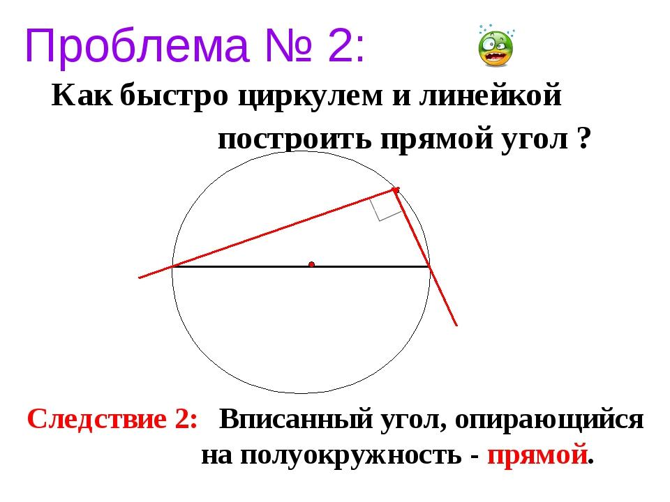 Проблема № 2: Как быстро циркулем и линейкой построить прямой угол ? Следстви...