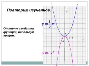 Х У 1 1 -2 2 3 -1 Опишите свойства функции, используя график. Повторим изучен