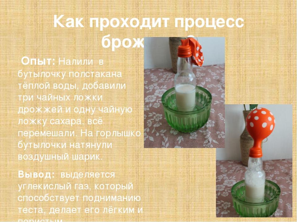 Как проходит процесс брожения? Опыт: Налили в бутылочку полстакана тёплой во...