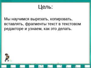 Цель: Мы научимся вырезать, копировать, вставлять, фрагменты текст в текстово