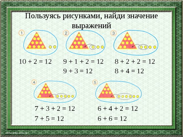 Пользуясь рисунками, найди значение выражений 10 + 2 = 12 9 + 1 + 2 = 12 9 +...