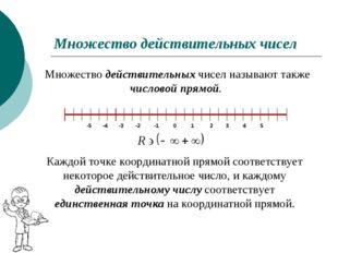 Множество действительных чисел Множество действительных чисел называют также