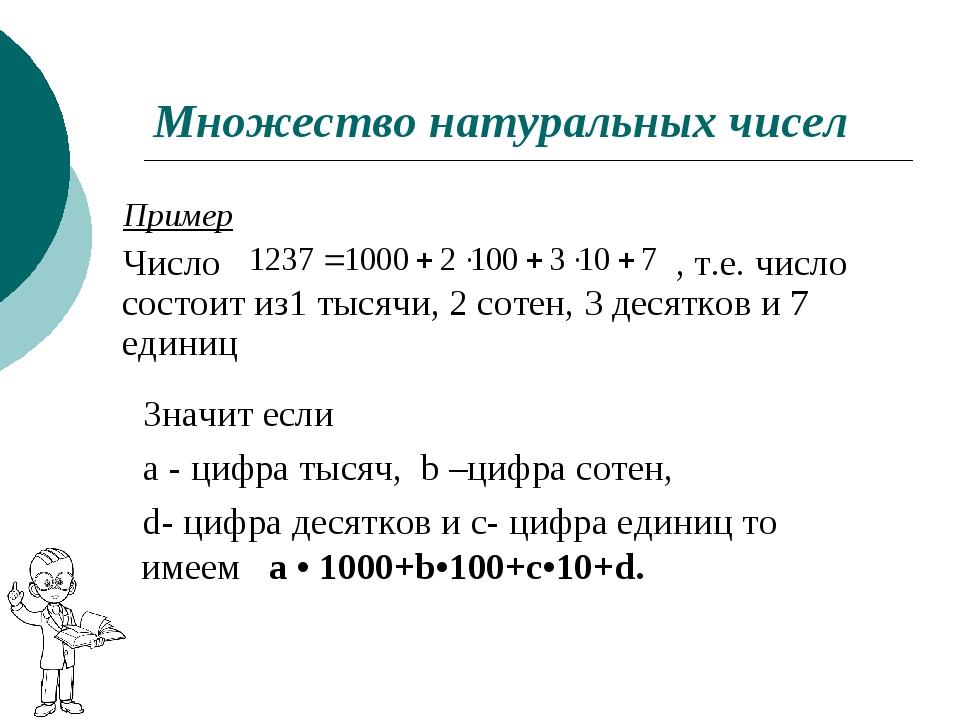 Множество натуральных чисел Пример Число , т.е. число состоит из1 тысячи, 2 с...