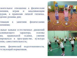 - положительное отношение к физическим упражнениям, играм и закаливающим про