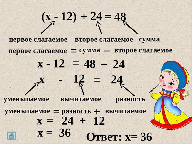 + – 24 (x - 12) = 48 первое слагаемое сумма второе слагаемое первое слагаемое...