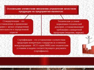 Основными элементами механизма управления качеством продукции на предприятии