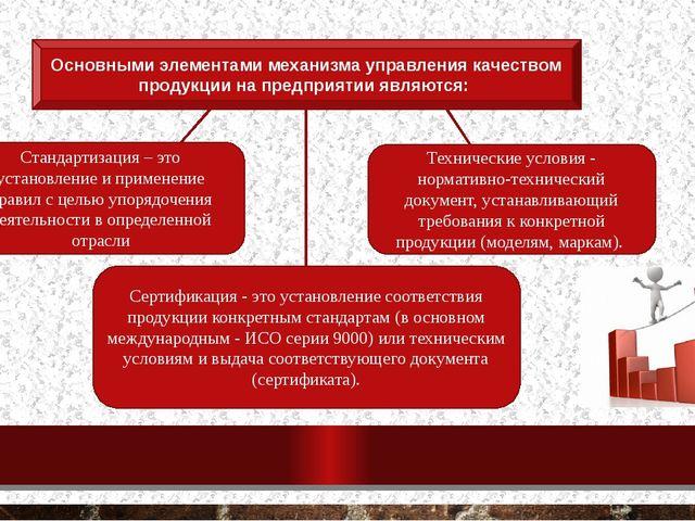 Основными элементами механизма управления качеством продукции на предприятии...
