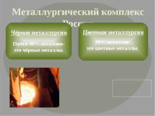Металлургический комплекс России Чёрная металлургия Почти 90% металлов- это ч