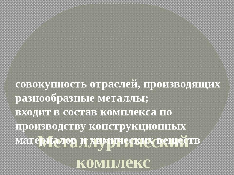 Металлургический комплекс России совокупность отраслей, производящих разнооб...