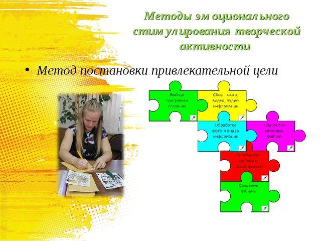 Методы эмоционального стимулирования творческой активности Метод постановки п...