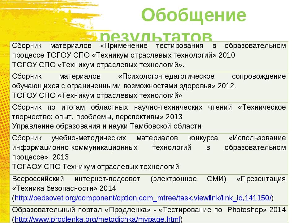 Обобщение результатов Сборник материалов «Применение тестирования в образова...