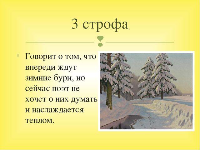 Говорит о том, что впереди ждут зимние бури, но сейчас поэт не хочет о них ду...