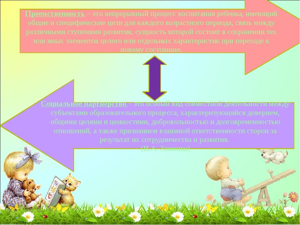 Преемственность – это непрерывный процесс воспитания ребенка, имеющий общие и...