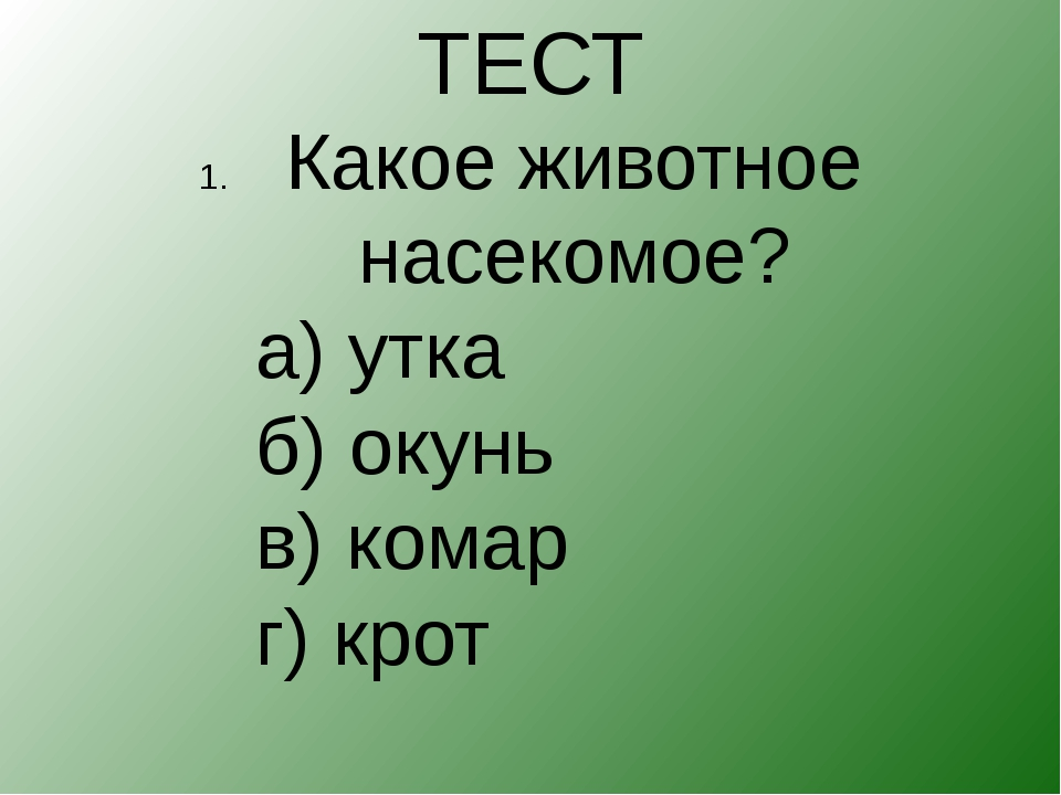 ТЕСТ Какое животное насекомое? а) утка б) окунь в) комар г) к...