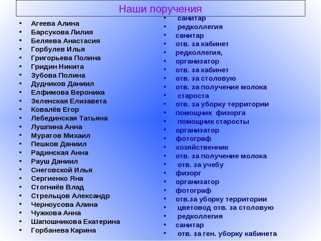 Наши поручения Агеева Алина Барсукова Лилия Беляева Анастасия Горбулев Илья Г...